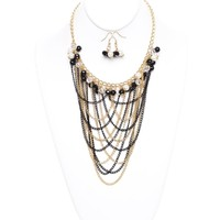 Gold And Black Cascading Interlocking Chains And Pearls Necklace Set