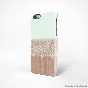 iPhone 6 case, iPhone 5s case, iPhone 5C case, iPhone 4s case with mint floral wood pattern Hong Kong free shipping A633