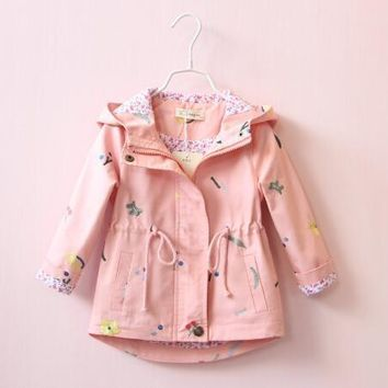 Trendy 2018 Spring Embroidery Flower Jackets For Girls Newborn Baby Hooded Coats Kids Clothes Windbreaker Outerwear For Girls 2-7 Years AT_94_13