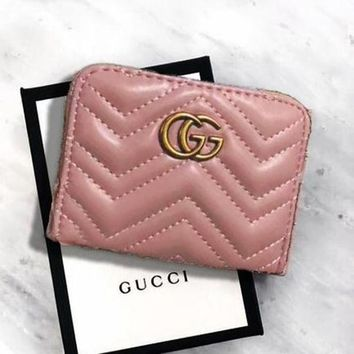 GUCCI Wallet Wave Line Women Handbag Wallet Zipper Waller Double G Metal Flag