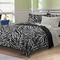 My Room Zebra Ultra Soft Microfiber Comforter Sheet Set, Black, Queen