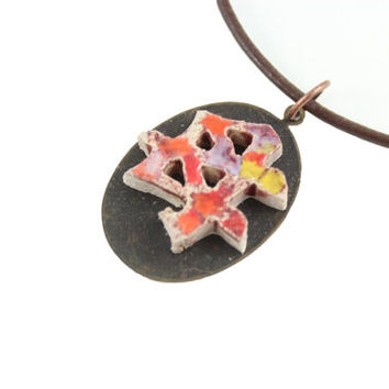 Japanese Symbol for Mother- Handmade Ceramic Necklace - Zen Jewelry