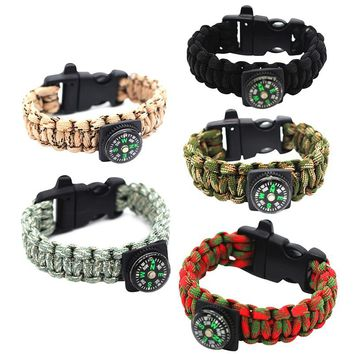 Multi-Function Emergency Survival Bracelet For Men Women Outdoor Rescue Parachute Cord Wristband Whistle Compass Paracord New