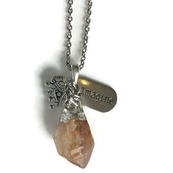 Wild Imagination Citrine Pendant & Charm Necklace