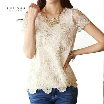 Summer Women Fashion Lace Floral Patchwork Blouse Long Sleeve Shirts Hollow Out Casual Tops Pullovers Various Styles