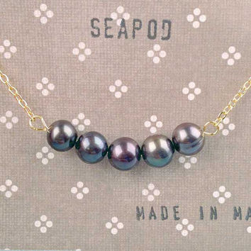Black Pearl Necklace Peapod Style Freshwater Pearl Jewelry Luster Finish Nautical Classic Jewelry
