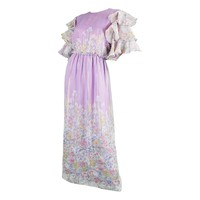Hanae Mori 1980s Purple & Pastel Floral Printed Ruffle Sleeve Vintage Maxi Dress
