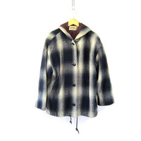 Vintage blue and white Plaid coat / hooded jacket / button up coat