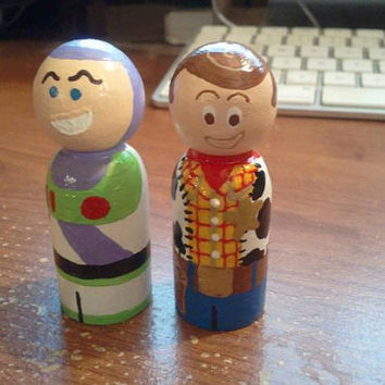 """Toy Story Inspired Characters, Buzz or Woody, wooden peg people """"CHOICE OF ONE"""""""