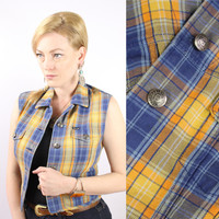Vintage - 90s - Yellow & Blue Plaid - Button Up - Cropped - Denim - Sleeveless Jean Vest - Top