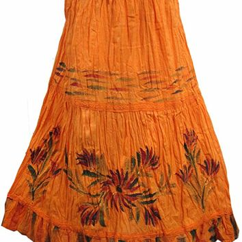 Mogul Womens Orange Skirt Rayon Embroidered Boho Maxi Skirt L: Amazon.ca: Clothing & Accessories
