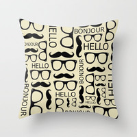 Hello, Bonjour Throw Pillow by Amy Copp
