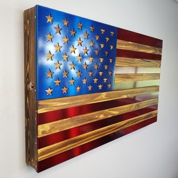 Red and Blue Freedom Cabinet with burned, oiled wood and inlaid painted US Flag Metal Art