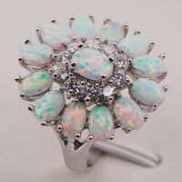 White Fire Opal Australia 925 Sterling Silver Woman Jewelry Ring Size 6 7 8 9 10 11