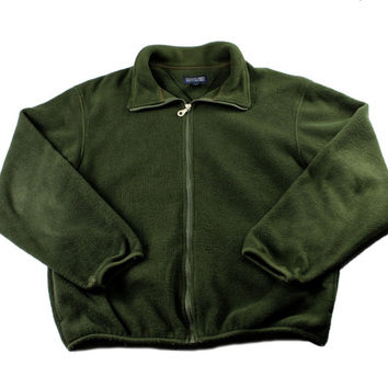 Vintage 1990s 90s Lands End Rustic Forest Green Fleece Jacket Made in USA Mens Size Medium