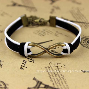 Ancient bronze + silver infinity bracelets, symbolizes the eternal charm bracelet, bridesmaid gifts, Christmas gifts