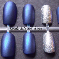 Matte Blue with Silver Holo Accent False Nail Set