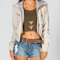 ASHLEY Womens Hooded Twill Bomber Jacket