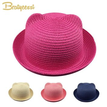Fashion Straw Bucket Hat Baby Summer Candy Color Kids Panama Cap for Boy Adjustable Brim Beach Baby Sun Hats for Girls 1 PC