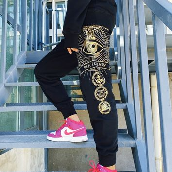"""""""Boy London"""" Unisex Casual Letter Pocket Eagle One-eyed Gold Stamping Sweatpants Couple Thickened Leisure Pants Trousers"""