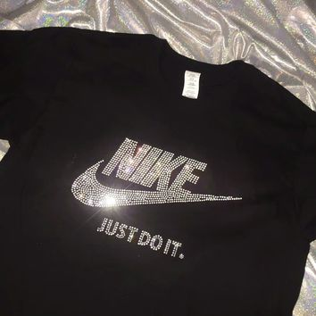 NIKE JUST DO IT Shining Diamond Women Men Top Shirt B-XXM-MZC