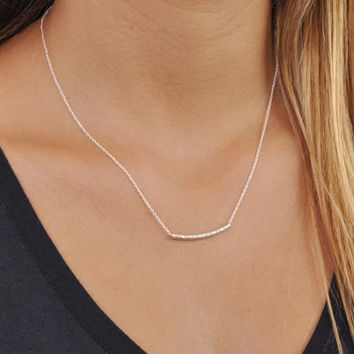 Silver Tube Necklace; Delicate Sterling Silver Necklace; Layering Necklace; Dainty Silver Hammered Tube Necklace; Minimal Silver Necklace;