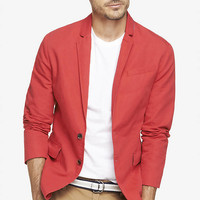 RED COTTON-LINEN DECONSTRUCTED BLAZER from EXPRESS