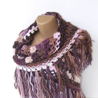 shawl ,women crocheted shawl ,purple pink shawl ,Wrap ,Stole ,Shrug