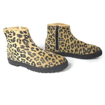 80s 90s Leather Print Ankle Boots Suede Leather Flat Animal Print Rocker Punk Ankle Boots (8)