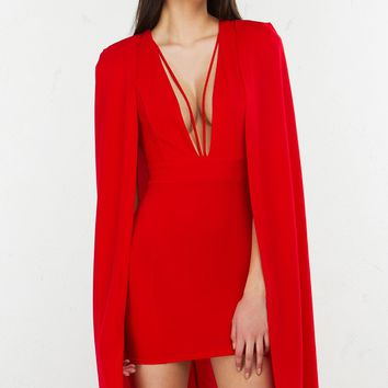 Cape Detail Dress in Ivory and Red