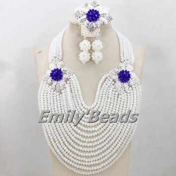 Costume African Beads Nigerian Wedding Jewelry Set White Crystal Beads Jewlery Sets Big Party Jewelry Set Free Shipping AEJ994