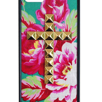 Teal Rose Gold Studded Cross iPhone 5/5s case