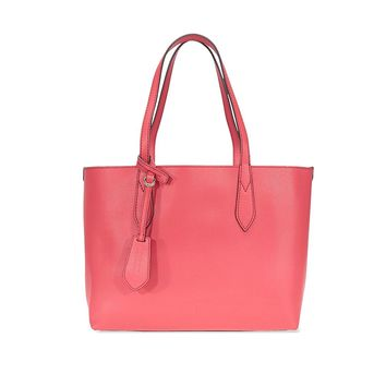 Burberry Small Reversible Tote in Haymarket Check - Coral Red