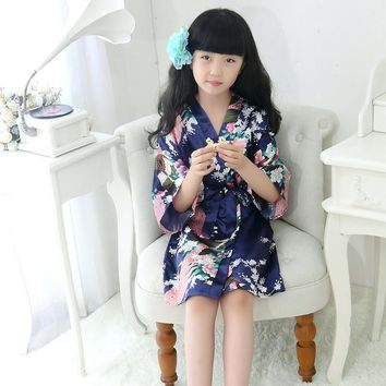 Children New Vintage Japanese Girls Kimono Kids Floral Print Dressing Gown Traditional Bathrobe Nightgown  Kimono Bath Robes