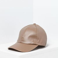 Taupe Leatherette 6 Panel Baseball Cap