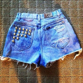 "Light pinkish purple washed high-waisted denim shorts with studs ""Cotton Candy"""