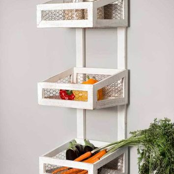 Wood & Chicken Wire White Wall Organizer