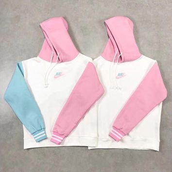 """Nike"" Women Cute Girl Heart Multicolor Long Sleeve Hooded Sweater Thickened Keep Warm Pullover Sweatshirt Hoodie Tops"