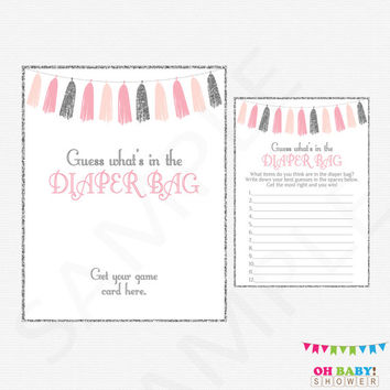 Pink and Silver Baby Shower, Guess What's in the Diaper Bag, Printable Baby Shower Games, Baby Shower Girl, Tassels, Instant Download, TASPS