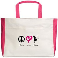 Peace Love Ballet Beach Tote