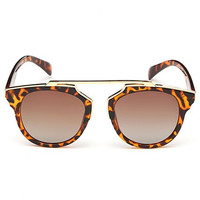 Deep Brown Leopard Print Sunglasses
