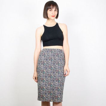 Vintage Black White Rainbow Midi Skirt Pencil Skirt 80s Skirt Tulip Polka Dot Wiggle Skirt 1980s New Wave High Waisted Skirt S M Medium L
