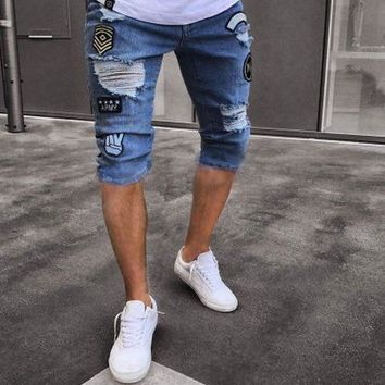 2018 New Men Jeans Stretch Skinny Hole Patches Ripped Pleated Casual Male Denim Patchwork Distressed Knee Length Trousers