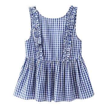 Women sweet ruffles plaid pleated buttons sleeveless shirt backless ladies summer casual tops tanks