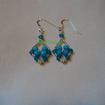 Little net woven Trinket earrings in Blue and Silver