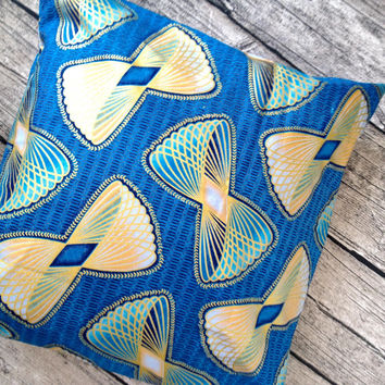 Cushion pillow cover, African wax print  (17 inch) Blue and Gold