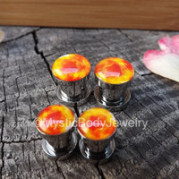 Sun Earrings Tunnels Gauges Earlobe Screw Fit Stainless Steel Tunnel Gauge Stretched Ear Jewelry Solar Flares 2g Silver Flair Flare 0g Plugs