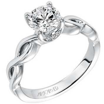 "Artcarved ""Alicia"" High Polish Twist Diamond Engagement Ring"