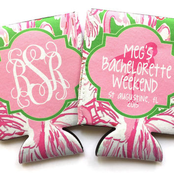 Bachelorette Lilly Pink Colony Koozies. Flamingo Lilly Koozies. Lilly Gifts. Monogram Bachelorette Party Favors. Personalized Coozies