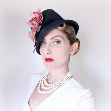 1940's Hat,VINTAGE, Tilt, Tall, Navy Blue, Silk Blossoms, WW2 Era, Pink Flowers, PRETTY